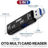5 In 1 OTG Card Reader Type C & Micro USB Flash Drive High-speed USB2.0 Universal OTG TF/SD Card for Android Laptop Computer