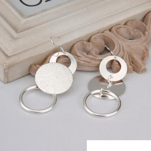 sterling silver plated Dual sand O Earrings DFMSE012,women's 925 silver Dangle Chandelier earrings