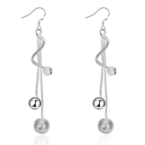 Two-wire light sand soo earri DFMSE276,women's 925 silver Dangle Chandelier earrings