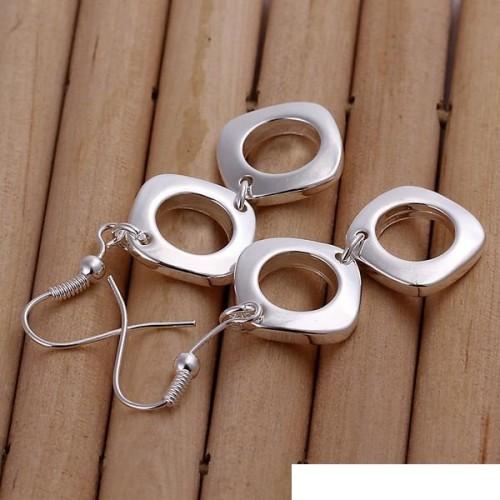 Double Quartet earrings DFMSE024,women's 925 silver Dangle Chandelier earrings