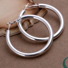 925 Sterling silver Huggie Earrings Fashion pretty nice women party 5CM round Earring Jewelry big circle lady wedding