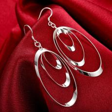 925 Sterling silver Chandelier Earrings charms round for women girl wedding engagement jewelry noble beautiful fashion Earrings