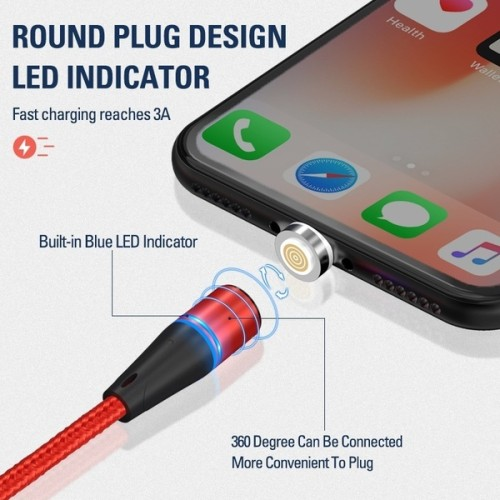 1M/2M Magnetic Charge Cable , Micro USB Cable For Micro usb/Type C/Lightning (Optional) Magnet Charger USB Type C Cable LED Charging Wire Cord