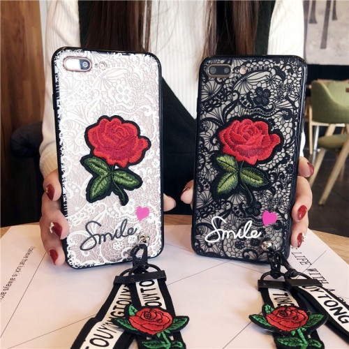 iPhone 6/6s Plus 7/8 Plus Case 3D Relief Lace Roses Flowers Case With Lanyard