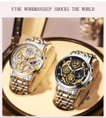 New Fashion Men Watch Calendar Stainless Steel Top Brand Luxury Sports Chronograph Quartz Watch Relogio Masculino