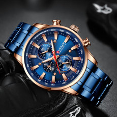 CURREN Man Watches Luxury Sporty Chronograph Wristwatches for Men Quartz Stainless Steel Band Clock Luminous Hands