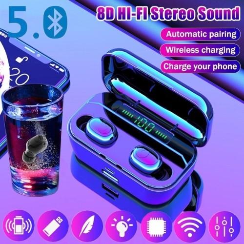 TWS Bluetooth Headset 8D Stereo Wireless Bluetooth Earphones Sport Waterproof Bluetooth Headphones Mini Earbuds with Wireless Charging Case