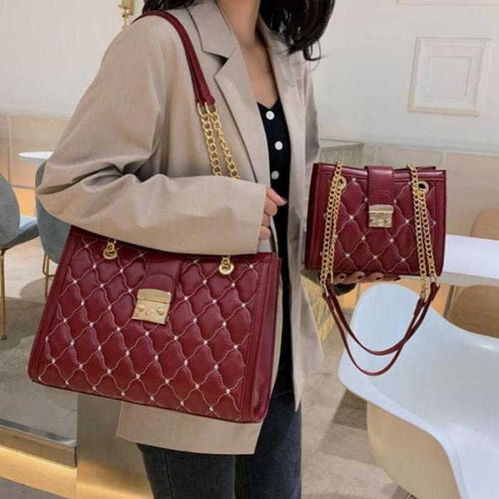 Lattice Big Tote bag 2021 Fashion New High Quality Leather Women's Designer Handbag High capacity Chain Shoulder Messenger Bag