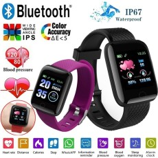 Screen Bluetooth Smart Watch IP67 Waterproof Sport Smart Watch Heart Rate Blood Pressure Sleep Fitness Wristband Pedometer Call SMS Sedenetary Reminder Activity Tracker Smartband for IOS Android
