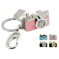 Metal Diamond Camera Usb Flash Drive Mini Pendrive Pink Camera Memory Storage 8GB 16GB Gift U Disk Fashion Key Chain Pen Drive