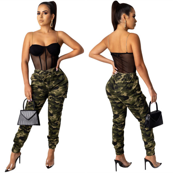 Hot Style Camouflage Cargo Pants Casual Tapered Pants LS6318