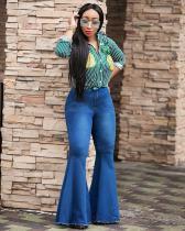 Casual Dark Blue Women Denim Micro Flared Trousers YZ1475