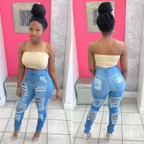 Fashion burning high waist all-match denim pants D8358