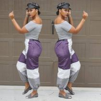 Casual Color Patchwork Elastic Waistband Pants OMM1023