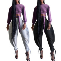 Casual Solid Color Strappy Wide Leg Pants ALS6303
