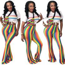 Women High Waist Stried Coloful Long Pants SY8255
