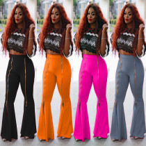 Fashion high waist slimming ruffled flared zipper solid color casual wide-leg pants MR2065