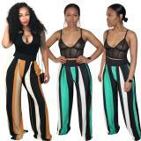 Euramerican Stripe Khaki/Green Thin Wide Leg Pants OEP6021
