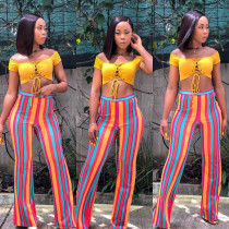 Online Sale Women Colorful Striped Midi Waist Flared Pants ORY5047
