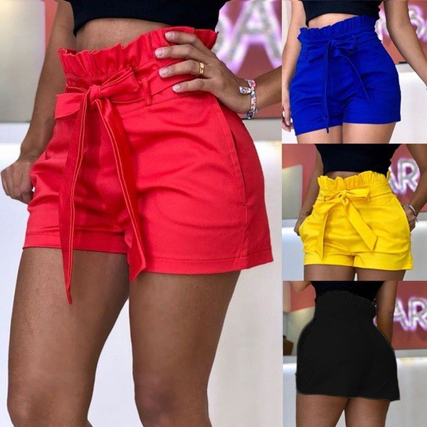 Wholesale Price Ruffle Pure Color Oversize High Waist Shorts YY1901