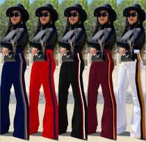 Fashion Multicolor Stitching Flared Trousers D368