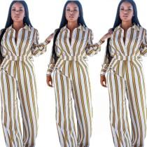 Women Stripe Casual Shirt High Waist Wide Leg Trousers E803