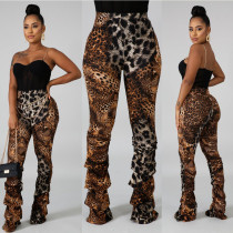Leopard Print Straight Trousers Personality High Waist Pants SN3707