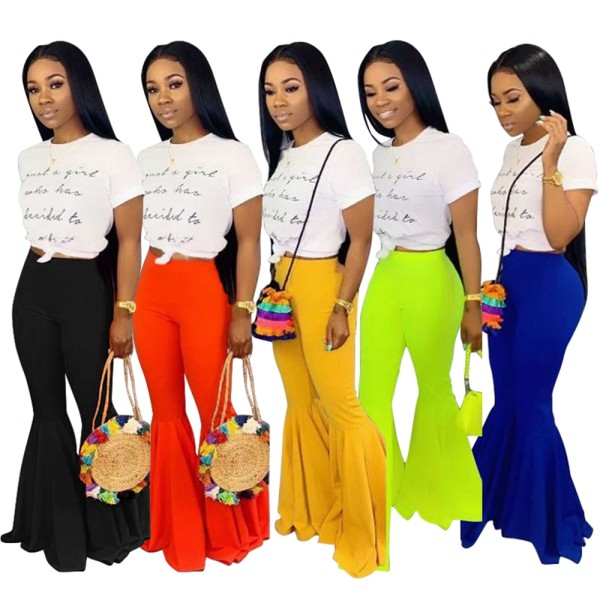 Fashion Solid Color Women Mid Waist Flared Pants D8273