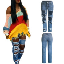 Latest Hollow Out High Waist Straight Pants SN3468