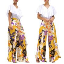 Online Sale Casual Clothing Ruffle Printing Wide Leg Pants E8120