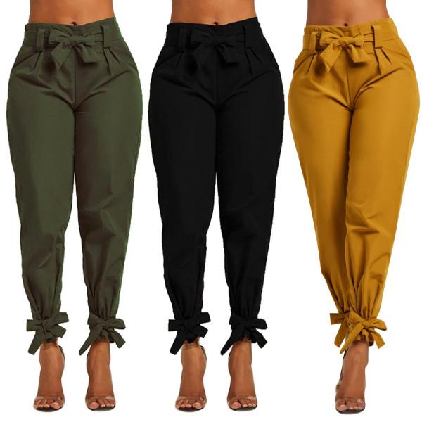 All-Match Ladies Comfy Solid Color Bandage Long Pants D8290