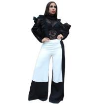 Leisure Contrast Color Wide Leg Pants For Daliy Wear N9044