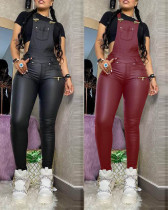 Sexy Solid Color Suspenders Backless PU Leather Jumpsuit K2044