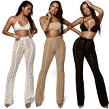 Hollow Out Pure Color Elastic Straight Pants ZS-Z0027