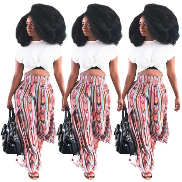 Wholesale Printing High Waist Wide Leg Pants R6114