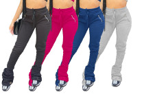 Sweatshirt fabric zipper pocket pleated micro flared stacking casual pants FSL101