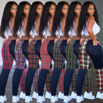 Fashion Contrast Plaid Printed Bodycon Trousers KSN8029