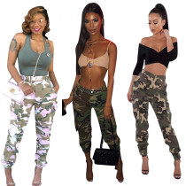 Leisure Camouflage Hot Sale Belted Trousers With Pockets LS6114