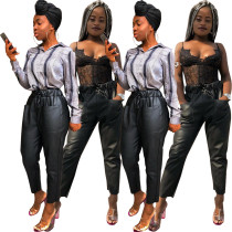 Fashion Drawstring Straight Leather Pants R6115