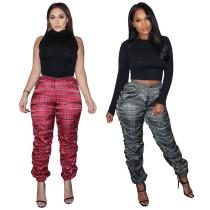 Fashion Plaid Printed Drawstring Stack Long Pants K9809
