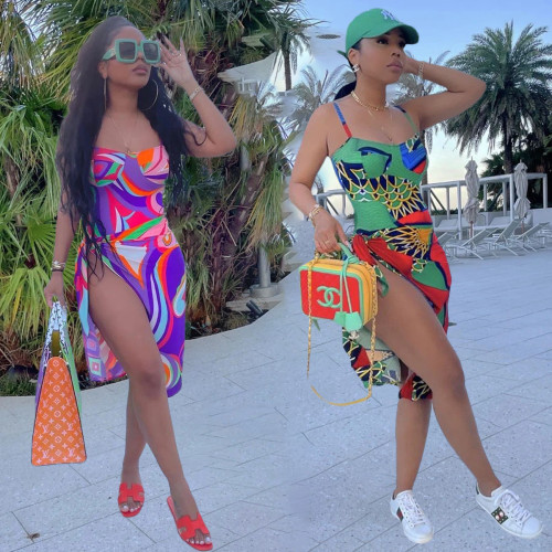 Two-piece fashion printed camisole swimsuit S961