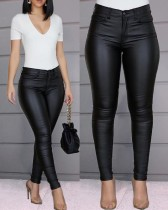 Casual Solid Color High Waist PU Leather Long Pants  MK111
