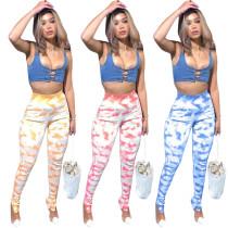 Fashion Tie Dye Printed High Waist Skinny Long Pants Q1057