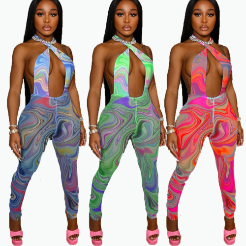 Summer color matching abstract print graffiti printed net gauze jumpsuit FFD1110