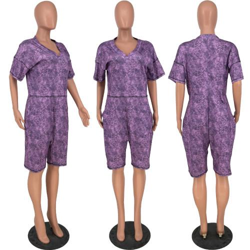 V-neck Printed Denim Pocket Jumpsuit Shorts HY5223