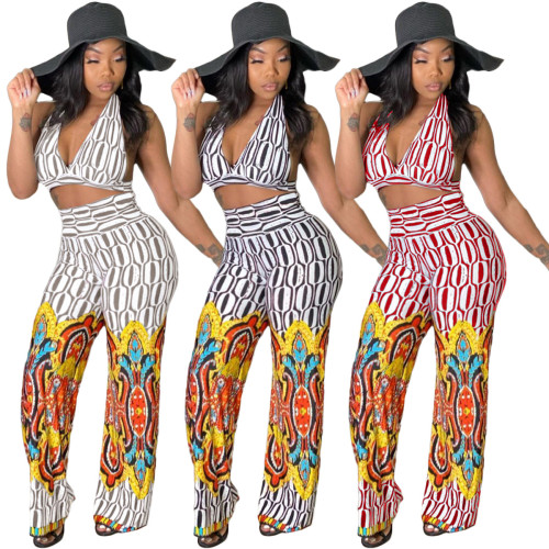 Fashion hanging neck wrapped chest flared pants positioning printing two-piece suit N6021
