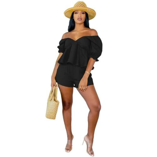 Casual Leaky Shoulder Sexy Solid Color Ruffle Short Sleeve Two-Piece Set L731