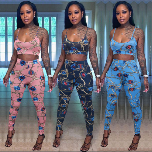 Fashion women's printed chest wrap suspender trousers two-piece suit N6025