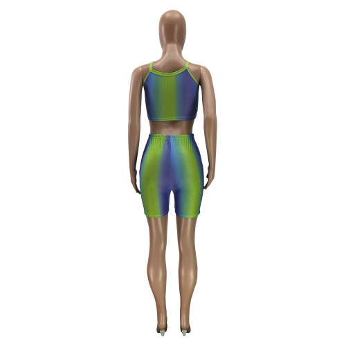 Pleated vest and shorts two-piece multicolor printed elastic pit strip two-piece suit PH1218