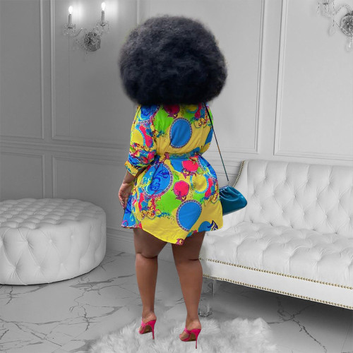 Trendy Fashion Printed Shirt Dress Lapel Buttoned Long Sleeve Summer Dress QY5078